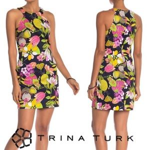 NWT Trina Turk Navy & Floral Print Midi Dress, 8